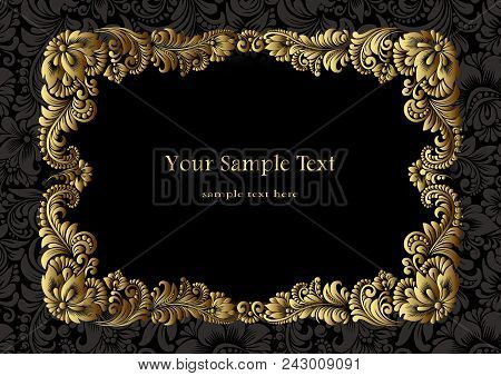 A4, Vector Square Golden  Frame  With Luxurious Ornament With Flowers On A Black Background. Decorat