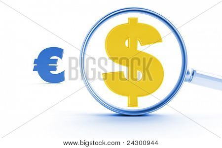 Gold symbols of dollar and euro under a magnifier on a white background