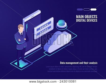 Corporation Public Data Storaging, Access For File Who Storage On Remote Cloud Server Concept, Moder