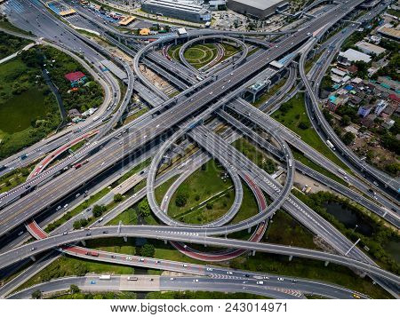 Top View Of Highway Road Junctions. The Intersecting Freeway Road Overpass The Eastern Outer Ring Ro