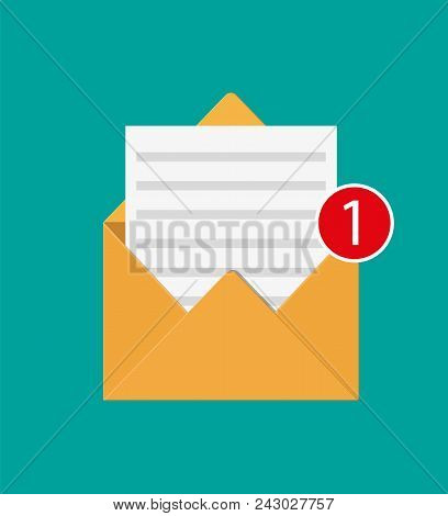 Paper Envelope Letter With Counter Notification. Mail Sms Message Icon. Unread Email Message. Vector