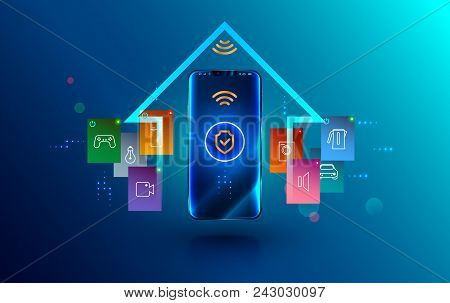 Smartphone Connected With Smart Home Via Protected Wireless Connection. Shield Symbol Security Of Io