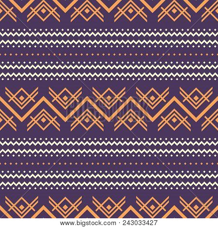 Seamless Abstract Pattern With Zigzag Elements. Folk Style Geometric Ornament Violet And Orange Colo