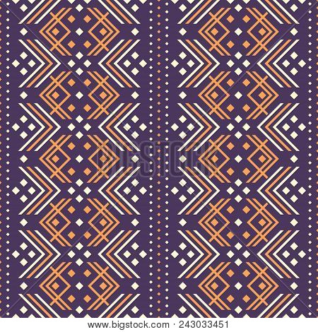 Seamless Pattern Of V Shaped Elements And Square Dots. Folk Style Geometric Ornament Violet And Oran