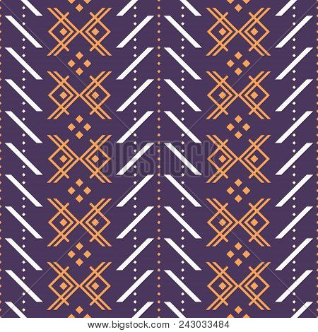 Seamless Geometric Pattern With V Shapes And Square Dots. Folk Style Ornament