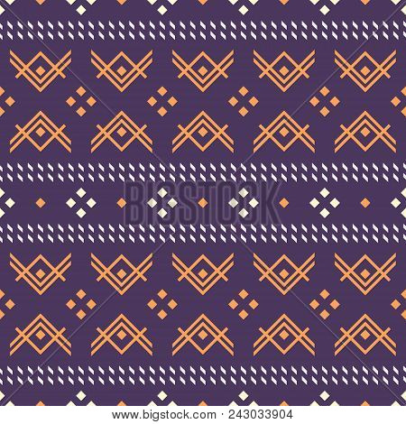 Seamless Geometric Pattern With V Shapes And Square Dots. Folk Style  Ornament. Violet And Orange Co
