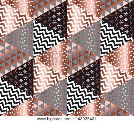 Luxury Rose Gold Xmas Geometric Seamless Pattern For Background, Wrapping Paper, Fabric, Backdrop. E