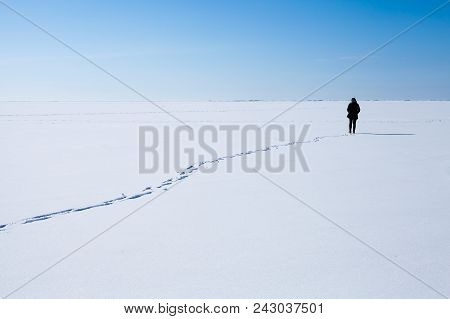 Lonely Teenage Girl Walks Along The Endless Snowfield