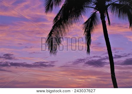 Tropical Sunset Sky Background In Kauai, Hawaiian Islands.