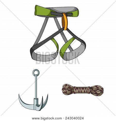 Mountaineering And Climbing Cartoon Icons In Set Collection For Design. Equipment And Accessories Ve