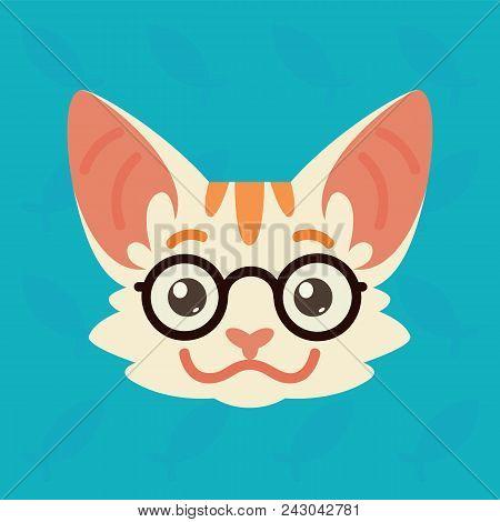 Cat Emotional Head. Vector Illustration Of Cute Kitty Shows Smart Emotion. Nerd Emoji. Smiley Icon.