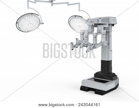 3d rendering robot surgery machine with four arms poster