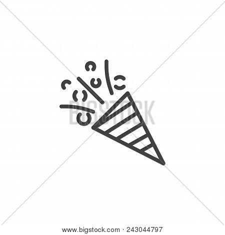 Flapper With Confetti Outline Icon. Linear Style Sign For Mobile Concept And Web Design. Confetti Po