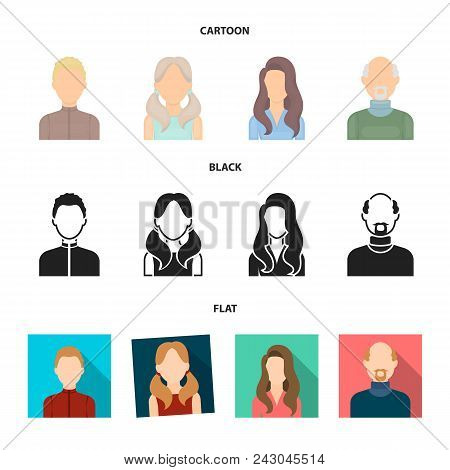Boy Blond, Bald Man, Girl With Tails, Woman.avatar Set Collection Icons In Cartoon, Black, Flat Styl