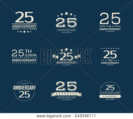 25 - Year Anniversary Celebrating Logotype. 25th Anniversary Logo Set.