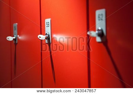 Locker Clothes Lock, Symbol Lockable Cabinet, Public Red Lockers, Storing Clothes Free, Hallway With