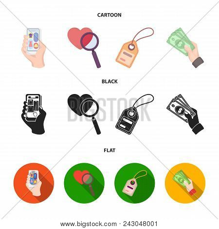 Hand, Mobile Phone, Online Store And Other Equipment. E Commerce Set Collection Icons In Cartoon, Bl