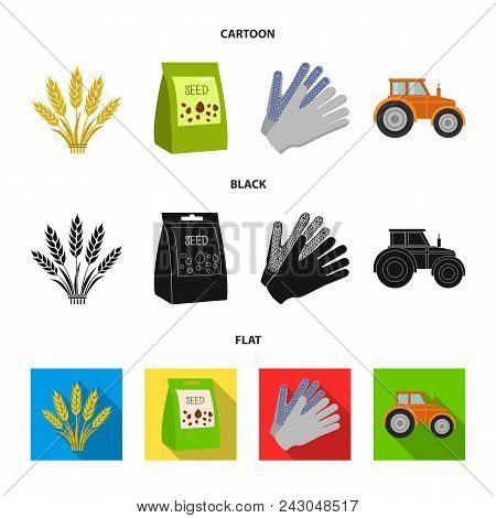 Spikelets Of Wheat, A Packet Of Seeds, A Tractor, Gloves.farm Set Collection Icons In Cartoon, Black