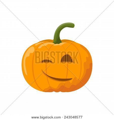 Cartoon Halloween Pumpkin With Smile. Vector Illustration.