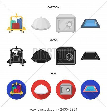 Trolley With Luggage, Safe, Swimming Pool, Clutch.hotel Set Collection Icons In Cartoon, Black, Flat
