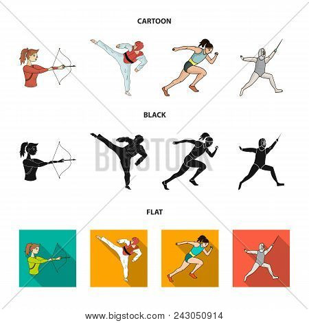 Archery, Karate, Running, Fencing. Olympic Sport Set Collection Icons In Cartoon, Black, Flat Style