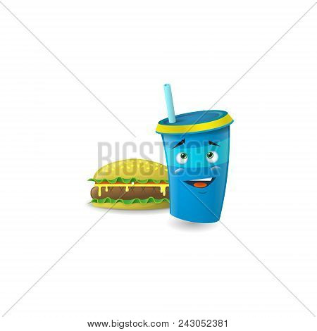 Color Illustration Of A Blue Cartoon Funny Shy  Paper Cup With Straws With Burger