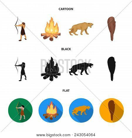 Man, Hunter, Onion, Bonfire .stone Age Set Collection Icons In Cartoon, Black, Flat Style Vector Sym