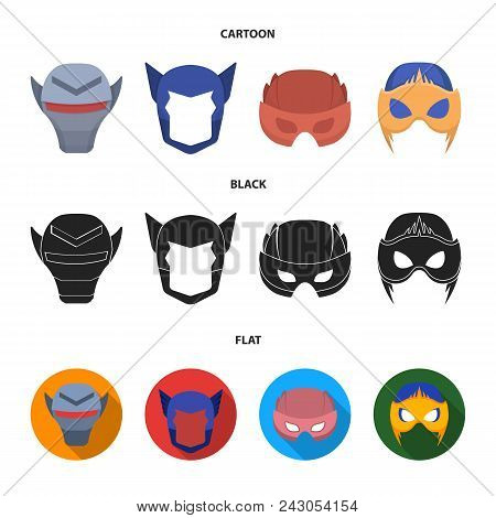 Helmet, Mask On The Head.mask Super Hero Set Collection Icons In Cartoon, Black, Flat Style Vector S