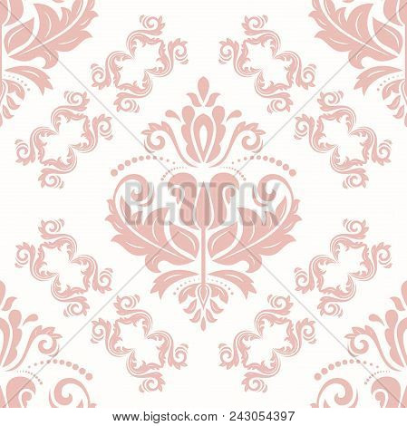 Classic Seamless Vector Pattern. Damask Orient Ornament. Classic Vintage Background. Orient Light Pi