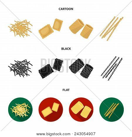 Different Types Of Pasta. Types Of Pasta Set Collection Icons In Cartoon, Black, Flat Style Vector S