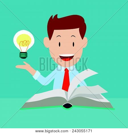 Happy Businessman Reading Book With Idea, Knowledge Business Education Concept. Reading Book For Ski