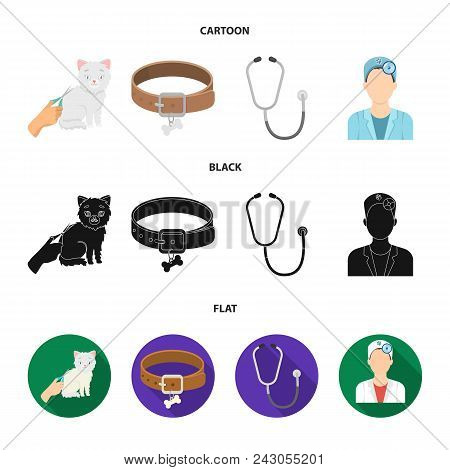Collar, Bone, Cat, Haircut .vet Clinic Set Collection Icons In Cartoon, Black, Flat Style Vector Sym