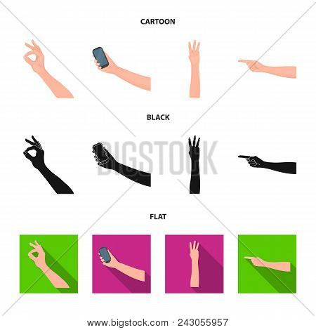 Sign Language Cartoon, Black, Flat Icons In Set Collection For Design.emotional Part Of Communicatio