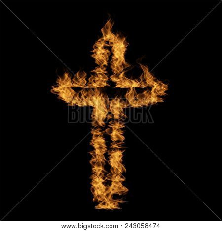 Conceptual hot fiery burning flame font made of blazing or raging orange yellow fire isolated black background. 3D illustration of abstract grungy glowing hell or inferno danger concept energy design