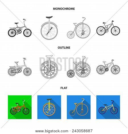 Retro, Unicycle And Other Kinds.different Bicycles Set Collection Icons In Flat, Outline, Monochrome