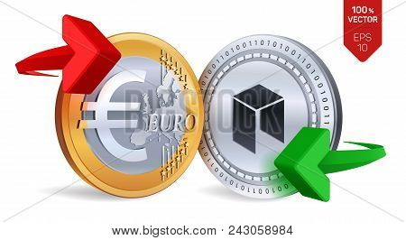 Neo To Euro Currency Exchange. Neo. Euro Coin. Cryptocurrency. Golden And Silver Coins With Neo And