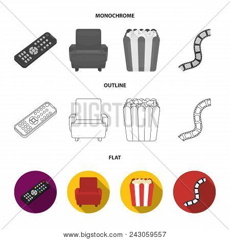 Control Panel, An Armchair For Viewing, Popcorn.films And Movies Set Collection Icons In Flat, Outli