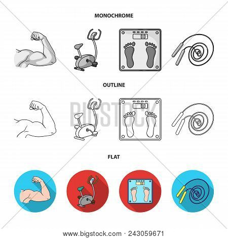 Biceps, Exercise Bike, Scales For Weighing, Skalka. Fitnes Set Collection Icons In Flat, Outline, Mo