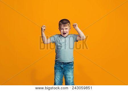 I Won. Winning Success Happy Teen Boy Celebrating Being A Winner. Dynamic Image Of Caucasian Model O