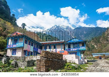 Nepal-march 30, 2018: Guest House On The Track Around Annapurna On March 30, 2018 In Nepal.