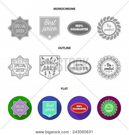 Special Offer, Best Prise, Guarantee, Bio Product.label, Set Collection Icons In Flat, Outline, Mono