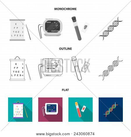 A Table Of Vision Tests, A Blood Test, A Dna Code, An Ecg Apparatus. Medicine Set Collection Icons I