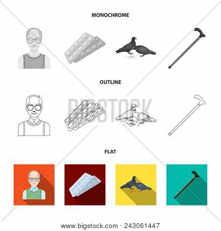 Elderly Men, Tablets, Pigeons, Walking Cane.old Age Set Collection Icons In Flat, Outline, Monochrom