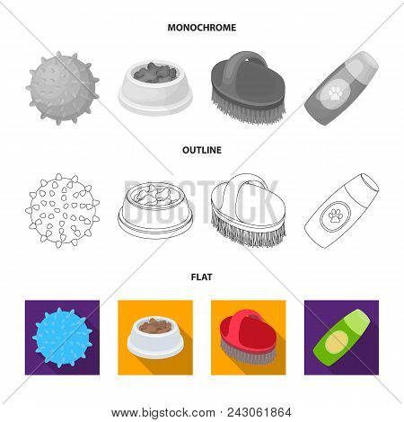 The Ball, Feed, Shampoo And Other Zoo Store Products. Pet Shop Set Collection Icons In Flat, Outline