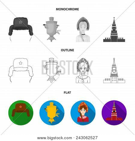 Clothes, Woman, Kremlin, Building .russia Country Set Collection Icons In Flat, Outline, Monochrome