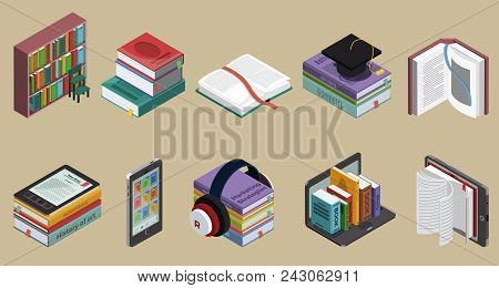 Isometric Colorful Books Collection With Bookshelf Educational Literature And Ebooks On Different De