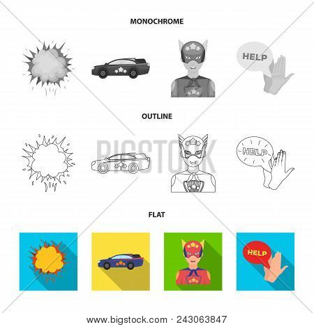 Explosion, Fire, Smoke And Other  Icon In Flat, Outline, Monochrome Style.superman, Superforce, Cry
