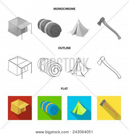 Tent With Awning, Ax And Other Accessories.tent Set Collection Icons In Flat, Outline, Monochrome St