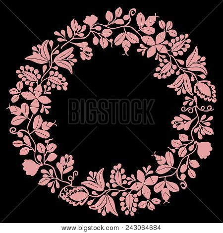 Pastel Pink Laurel Wreath Vector Decorative Frame On Black Background