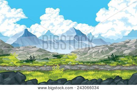 A High Quality Horizontal Seamless Background Of Landscape With Rocks And Mountains. Horizontal Tile